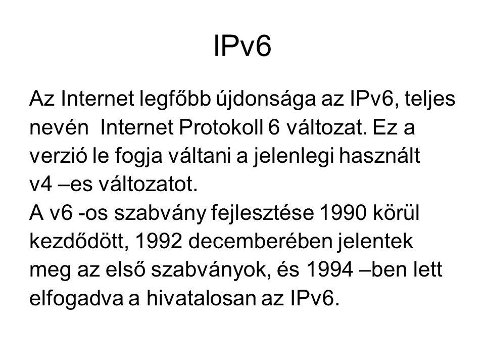 IPv6 Az Internet legfőbb újdonsága az IPv6, teljes