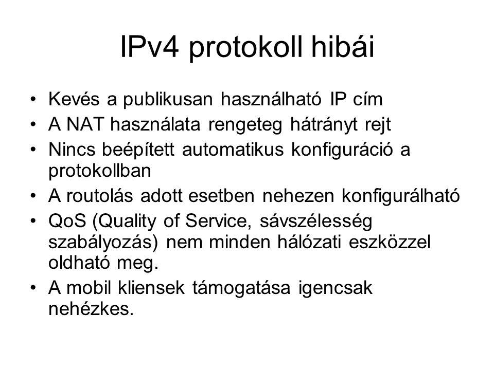 IPv4 protokoll hibái Kevés a publikusan használható IP cím