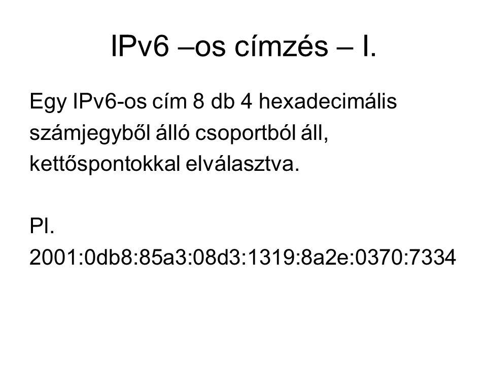 IPv6 –os címzés – I. Egy IPv6-os cím 8 db 4 hexadecimális