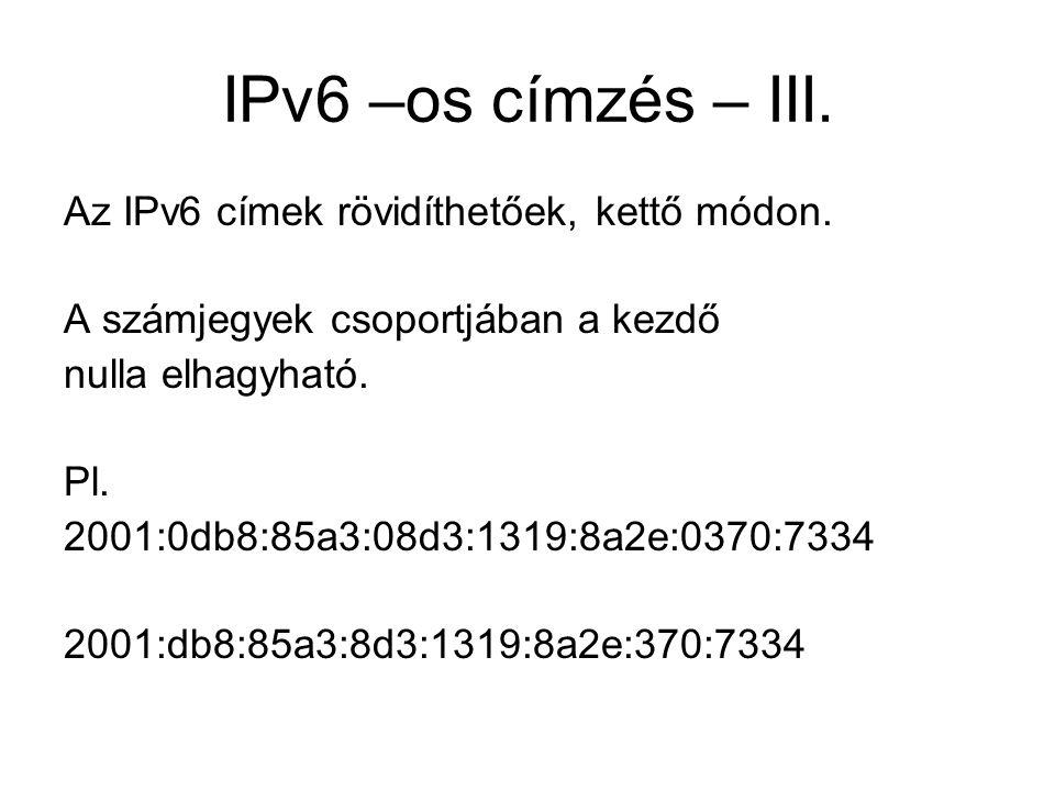 IPv6 –os címzés – III. Az IPv6 címek rövidíthetőek, kettő módon.