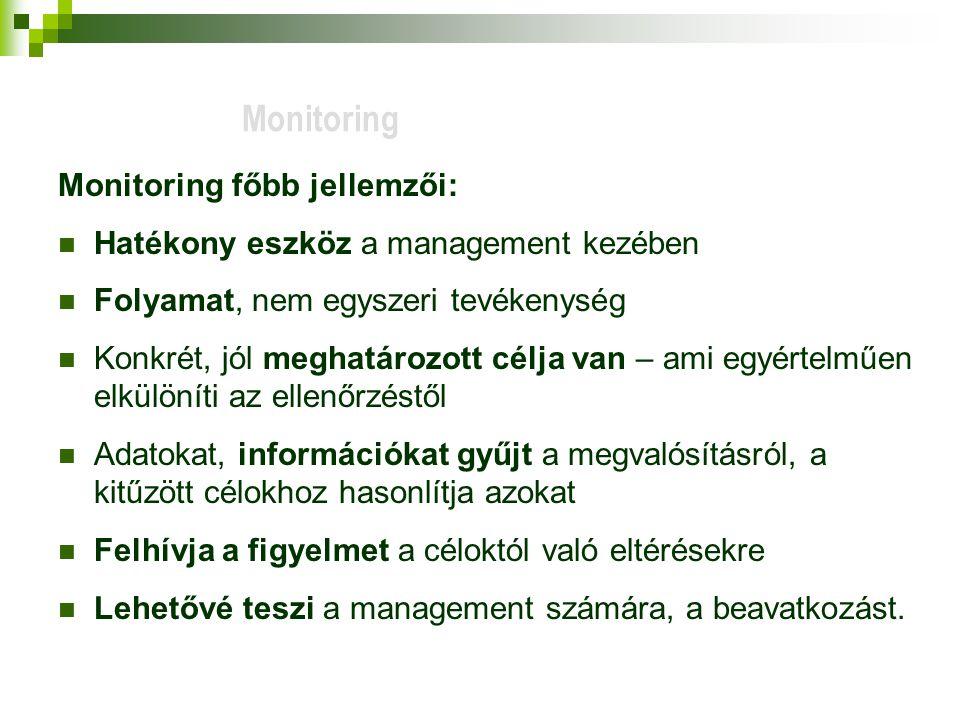 Monitoring Monitoring főbb jellemzői: