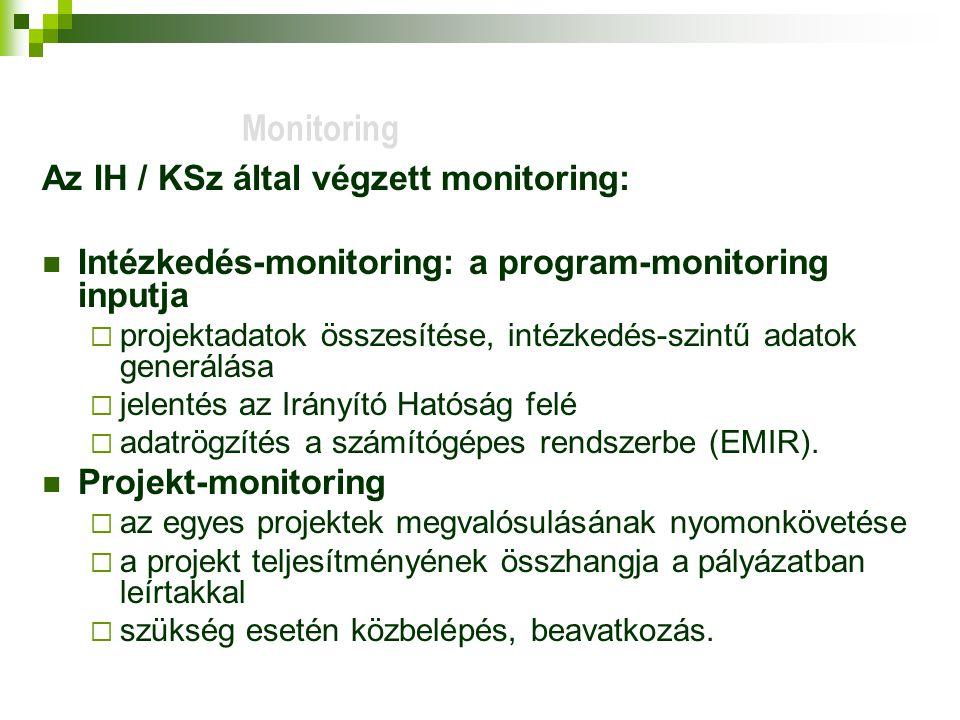 Monitoring Az IH / KSz által végzett monitoring: