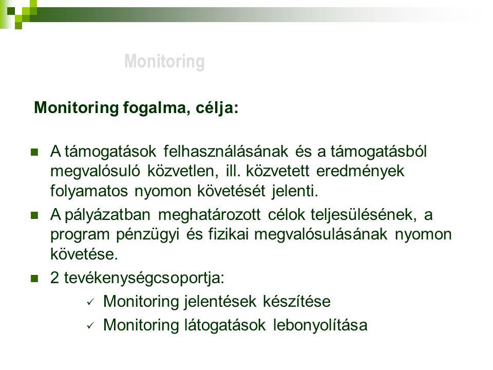 Monitoring Monitoring fogalma, célja: