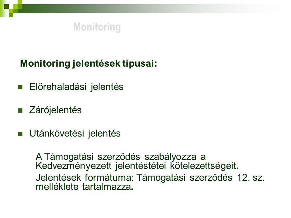 Monitoring Előrehaladási jelentés Zárójelentés Utánkövetési jelentés