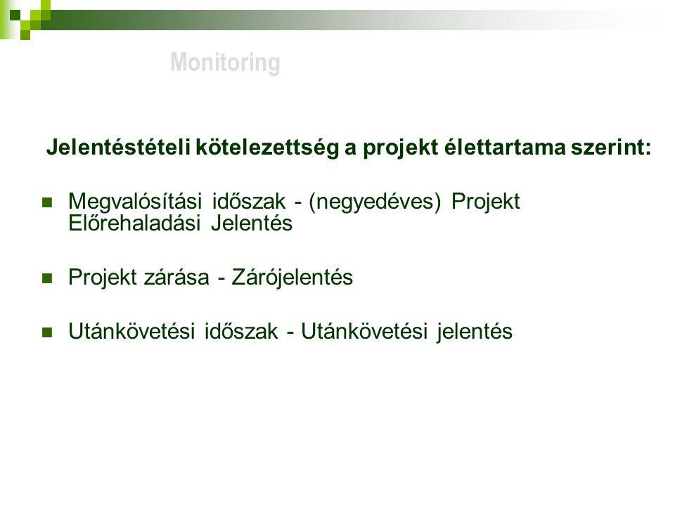 Monitoring Jelentéstételi kötelezettség a projekt élettartama szerint: Megvalósítási időszak - (negyedéves) Projekt Előrehaladási Jelentés.