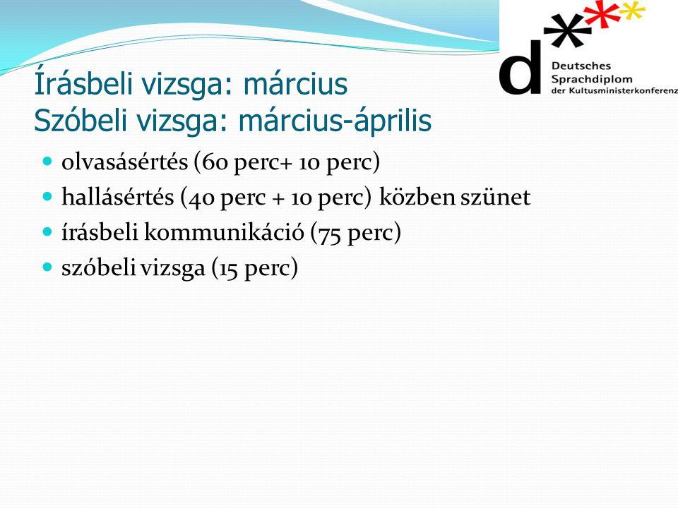 Írásbeli vizsga: március Szóbeli vizsga: március-április