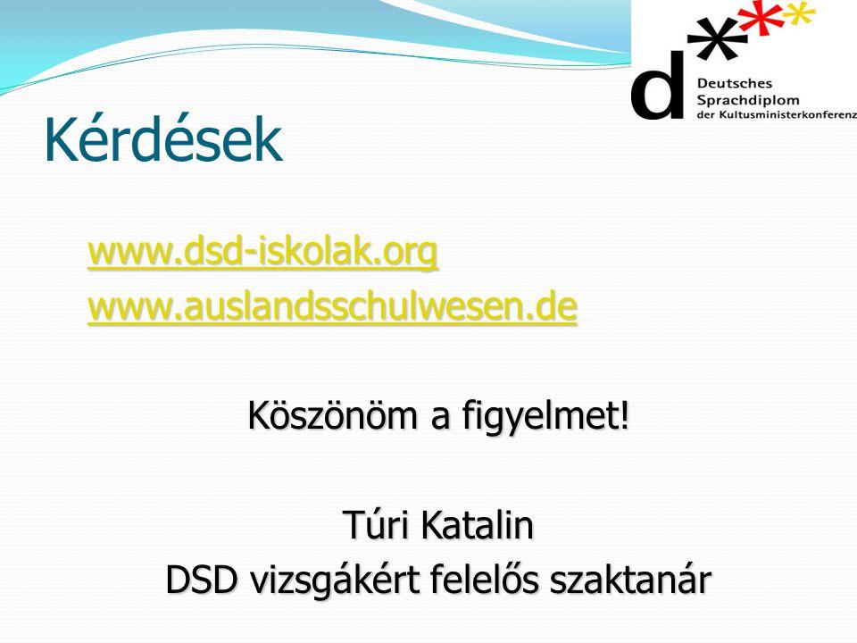 DSD vizsgákért felelős szaktanár