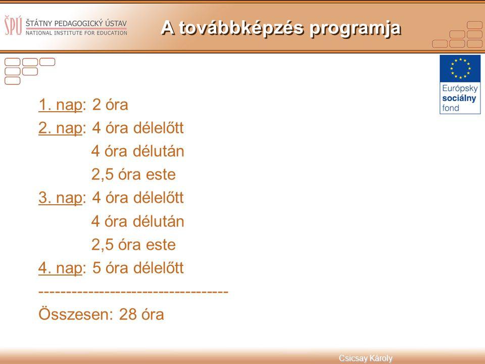 A továbbképzés programja