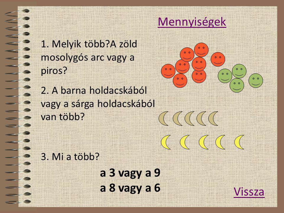 Mennyiségek a 3 vagy a 9 a 8 vagy a 6 Vissza