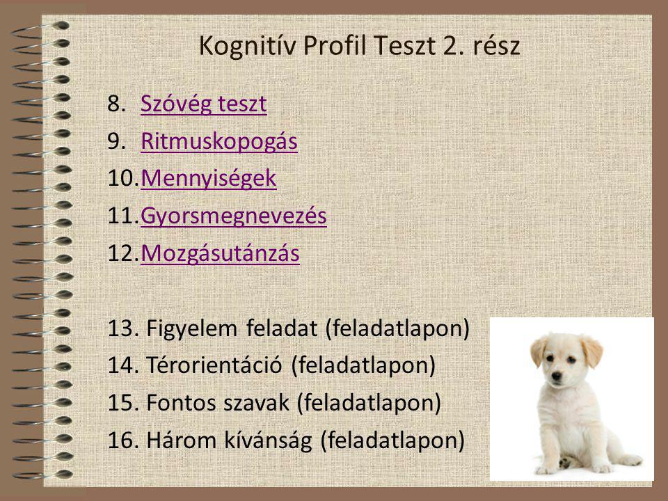 Kognitív Profil Teszt 2. rész