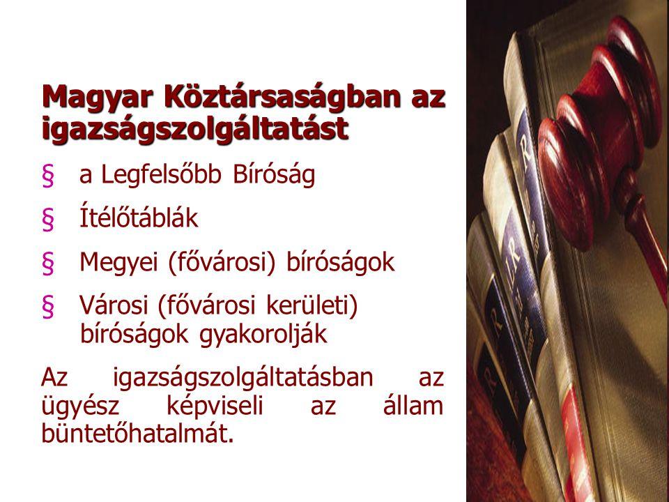 Magyar Köztársaságban az igazságszolgáltatást