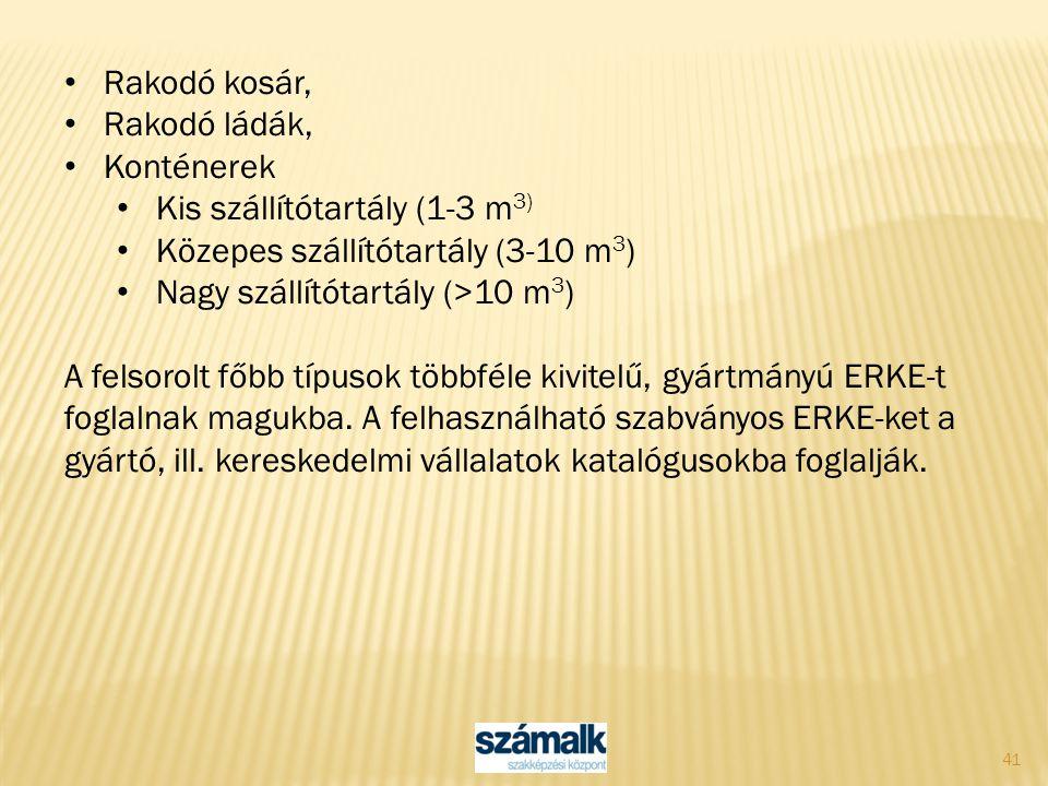Rakodó kosár, Rakodó ládák, Konténerek. Kis szállítótartály (1-3 m3) Közepes szállítótartály (3-10 m3)