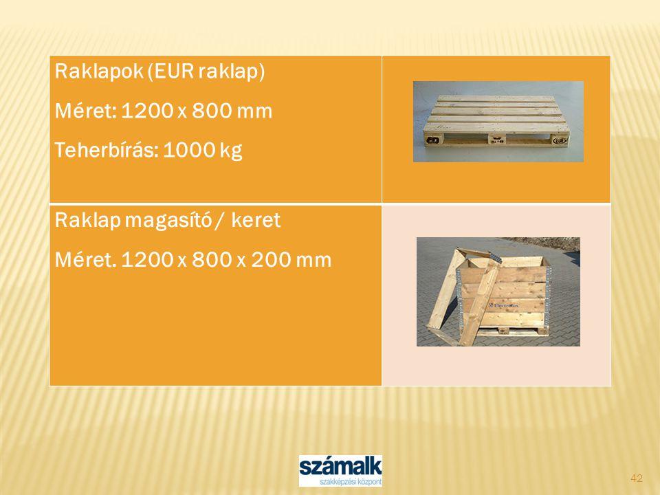 Raklapok (EUR raklap) Méret: 1200 x 800 mm. Teherbírás: 1000 kg.