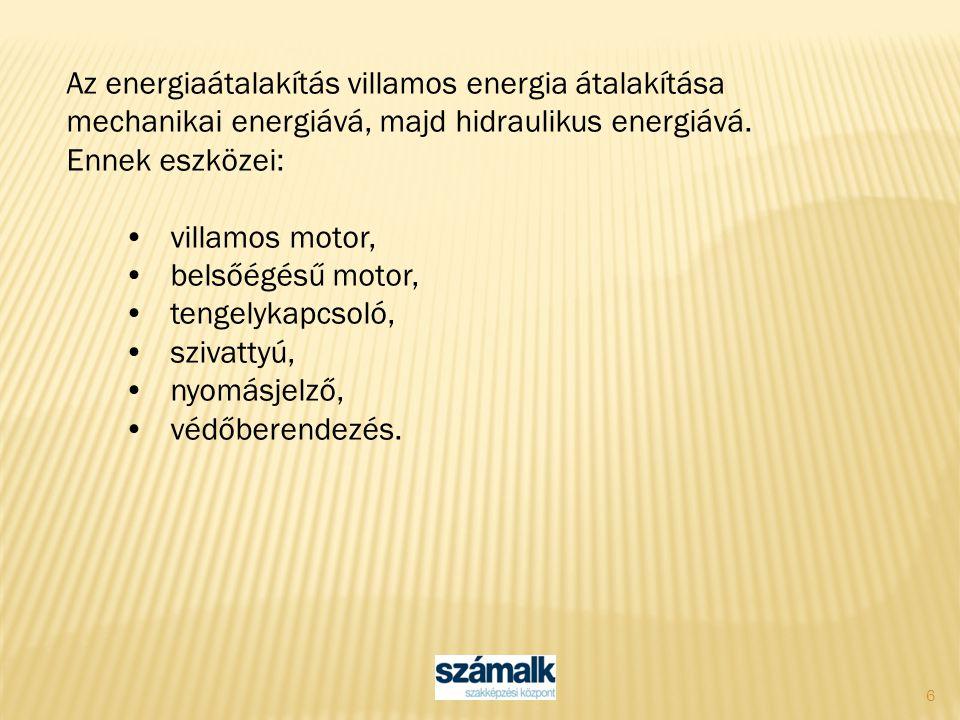 Az energiaátalakítás villamos energia átalakítása mechanikai energiává, majd hidraulikus energiává.