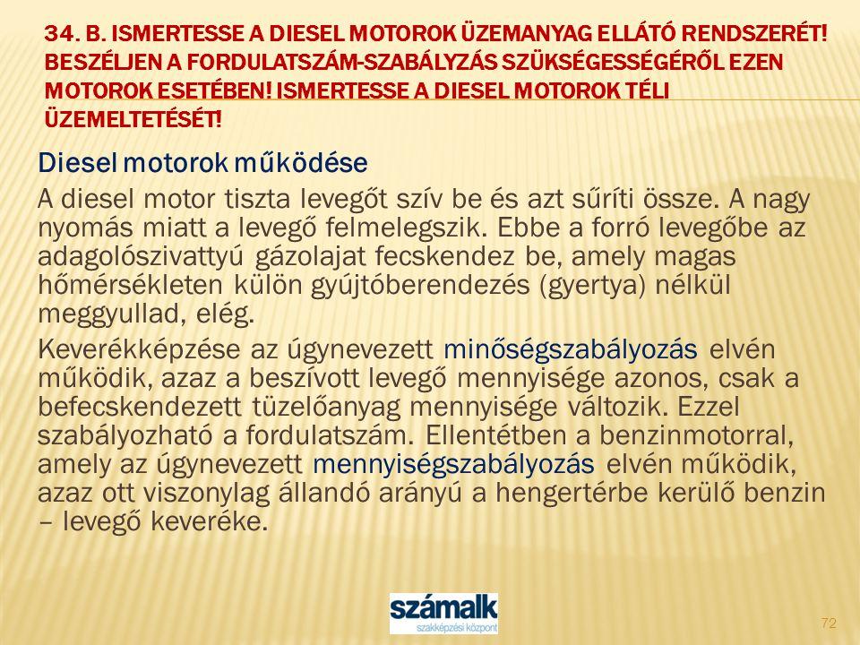 Diesel motorok működése