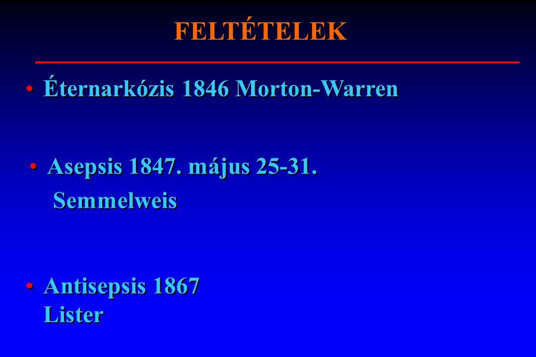 FELTÉTELEK Éternarkózis 1846 Morton-Warren Asepsis 1847. május 25-31.