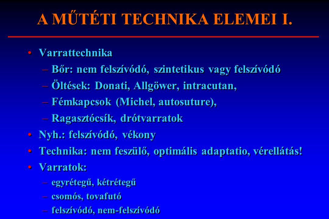 A MŰTÉTI TECHNIKA ELEMEI I.