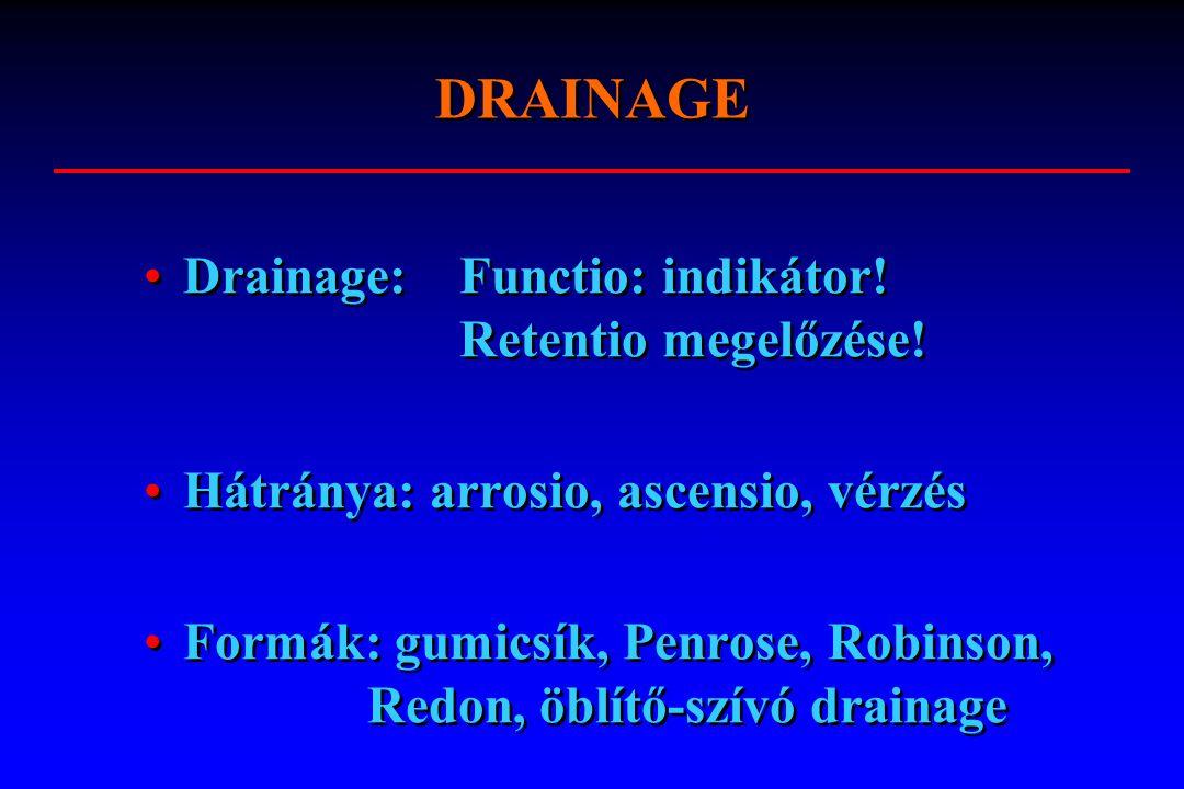 DRAINAGE Drainage: Functio: indikátor! Retentio megelőzése!