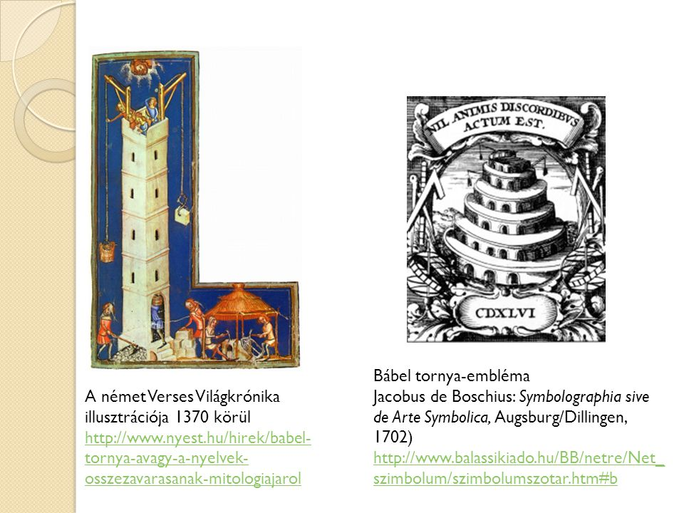 Bábel tornya-embléma Jacobus de Boschius: Symbolographia sive de Arte Symbolica, Augsburg/Dillingen, 1702)