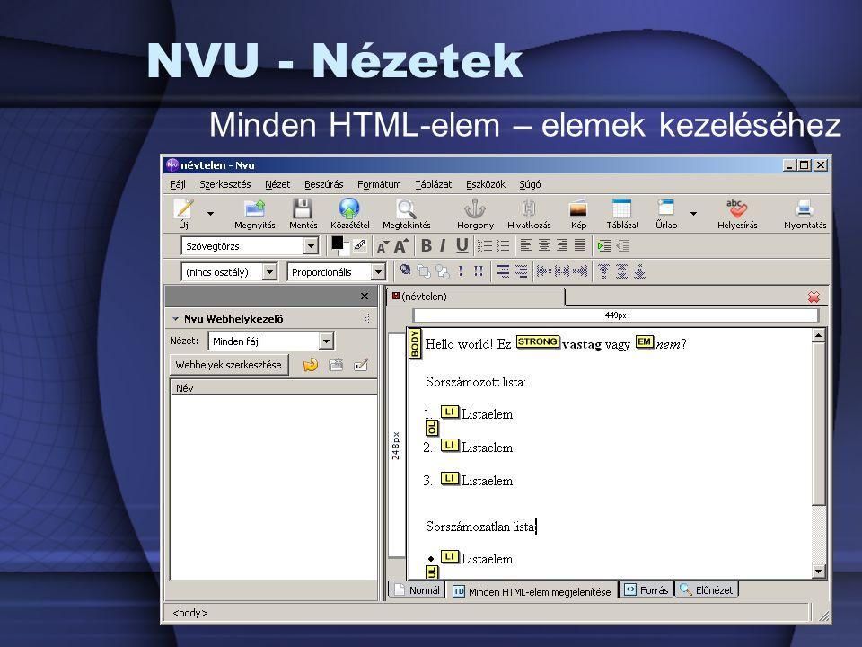 NVU - Nézetek Minden HTML-elem – elemek kezeléséhez