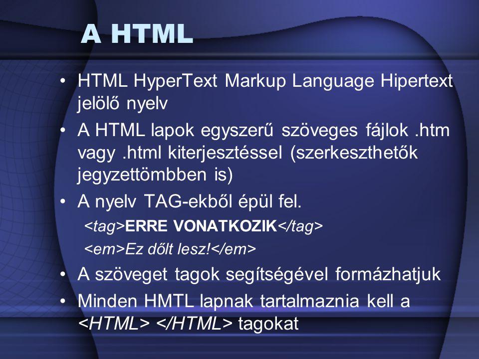 A HTML HTML HyperText Markup Language Hipertext jelölő nyelv