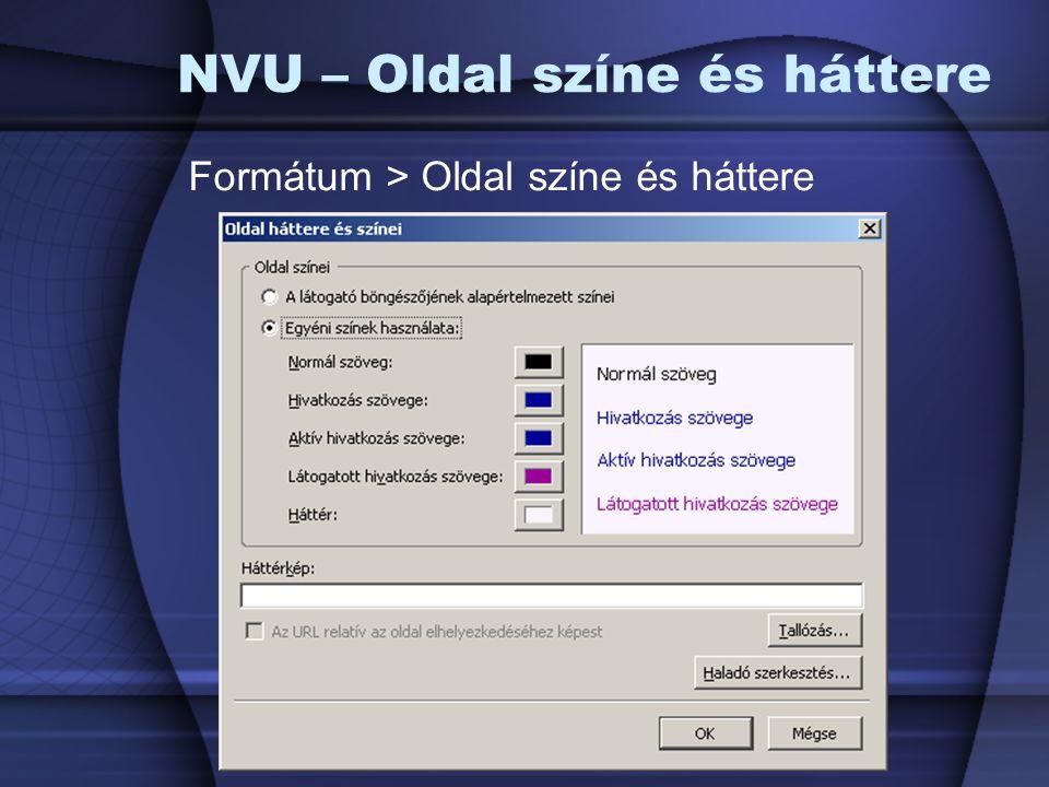 NVU – Oldal színe és háttere