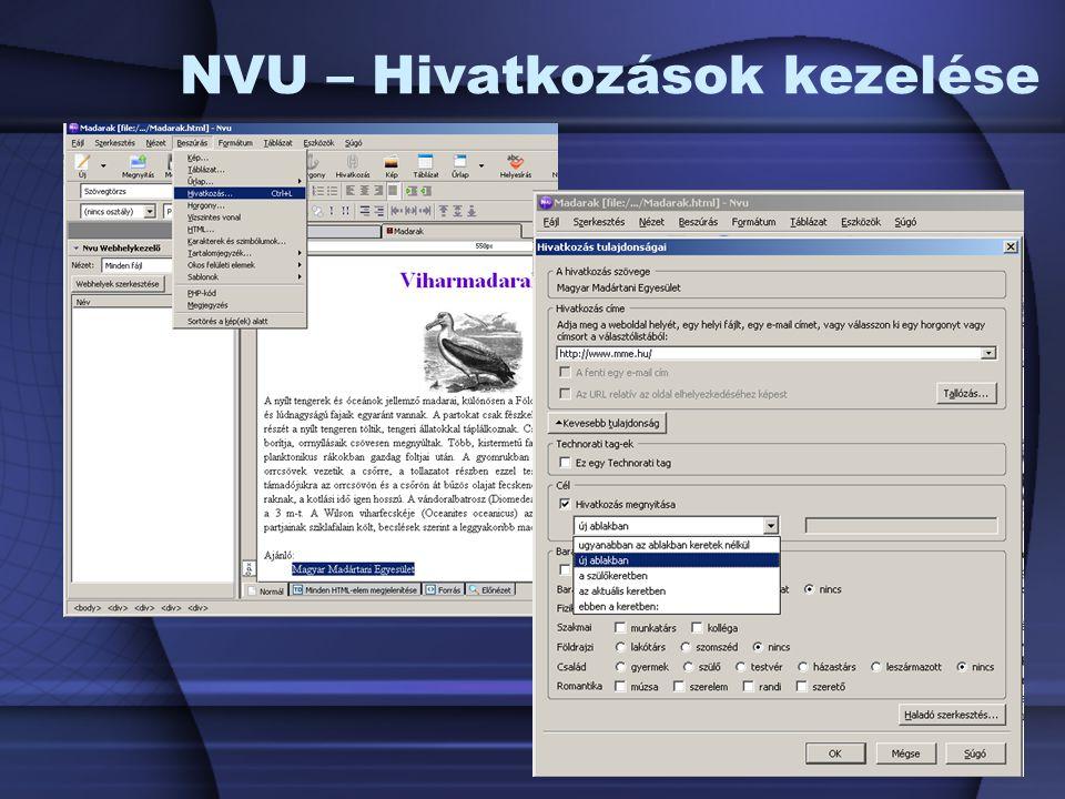 NVU – Hivatkozások kezelése