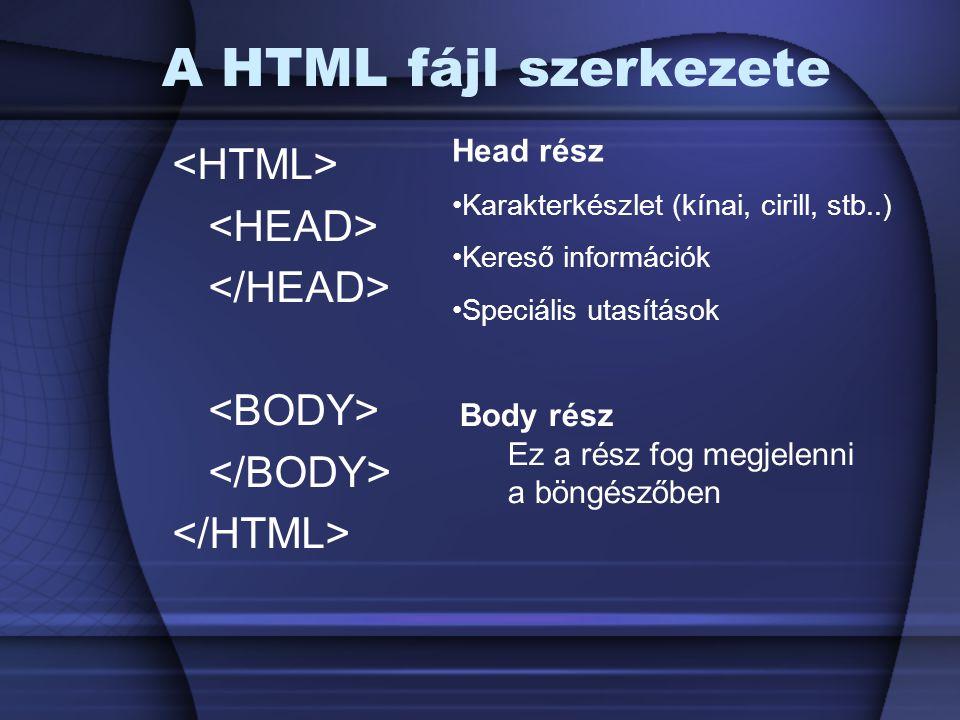 A HTML fájl szerkezete <HTML> <HEAD> </HEAD>