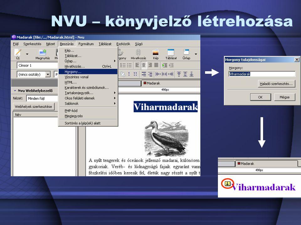 NVU – könyvjelző létrehozása
