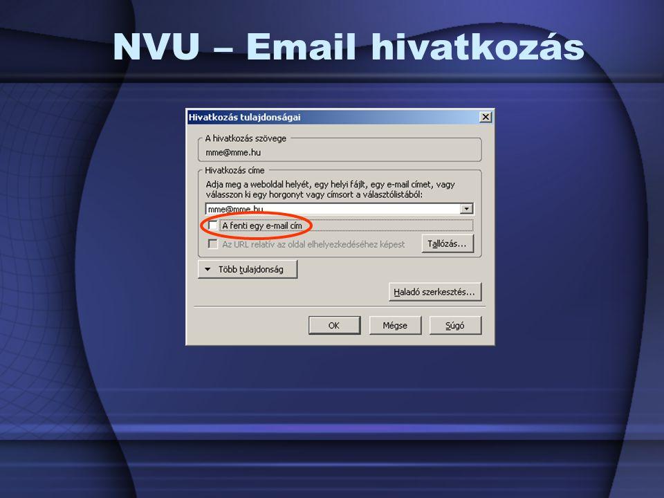 NVU – Email hivatkozás