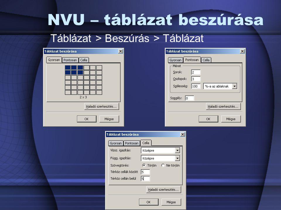NVU – táblázat beszúrása
