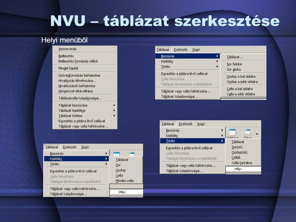 NVU – táblázat szerkesztése