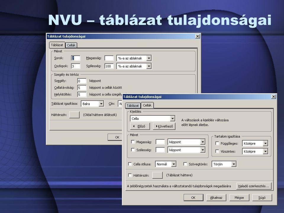 NVU – táblázat tulajdonságai