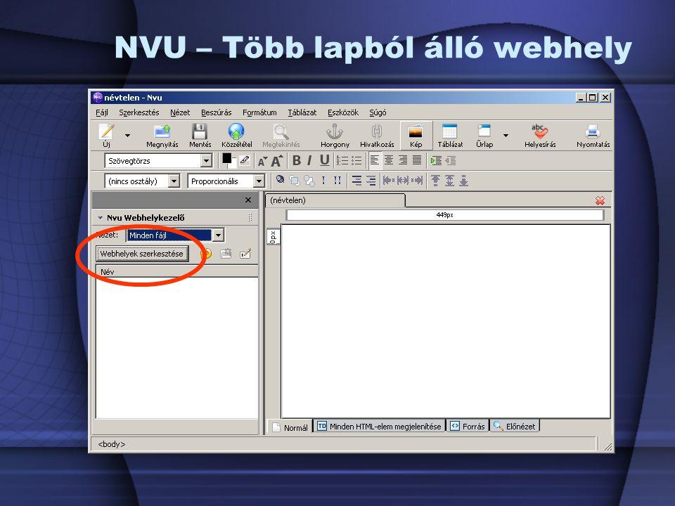 NVU – Több lapból álló webhely