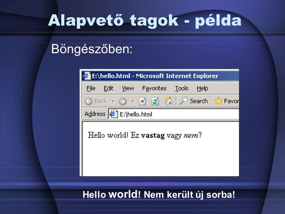 Alapvető tagok - példa Böngészőben: Hello world! Nem került új sorba!