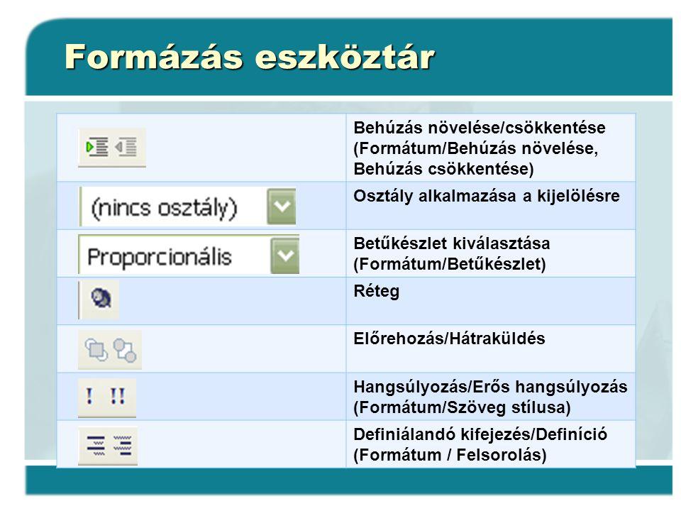 Formázás eszköztár Behúzás növelése/csökkentése (Formátum/Behúzás növelése, Behúzás csökkentése) Osztály alkalmazása a kijelölésre.