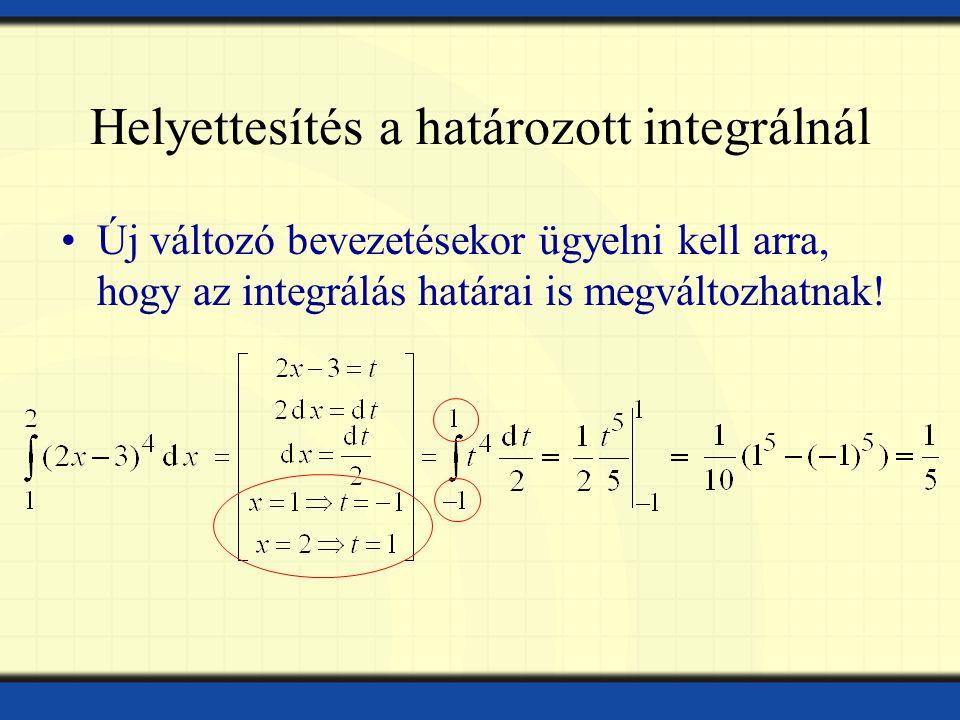 Helyettesítés a határozott integrálnál