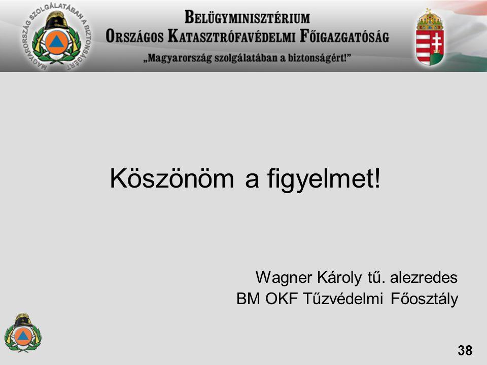 Köszönöm a figyelmet! Wagner Károly tű. alezredes