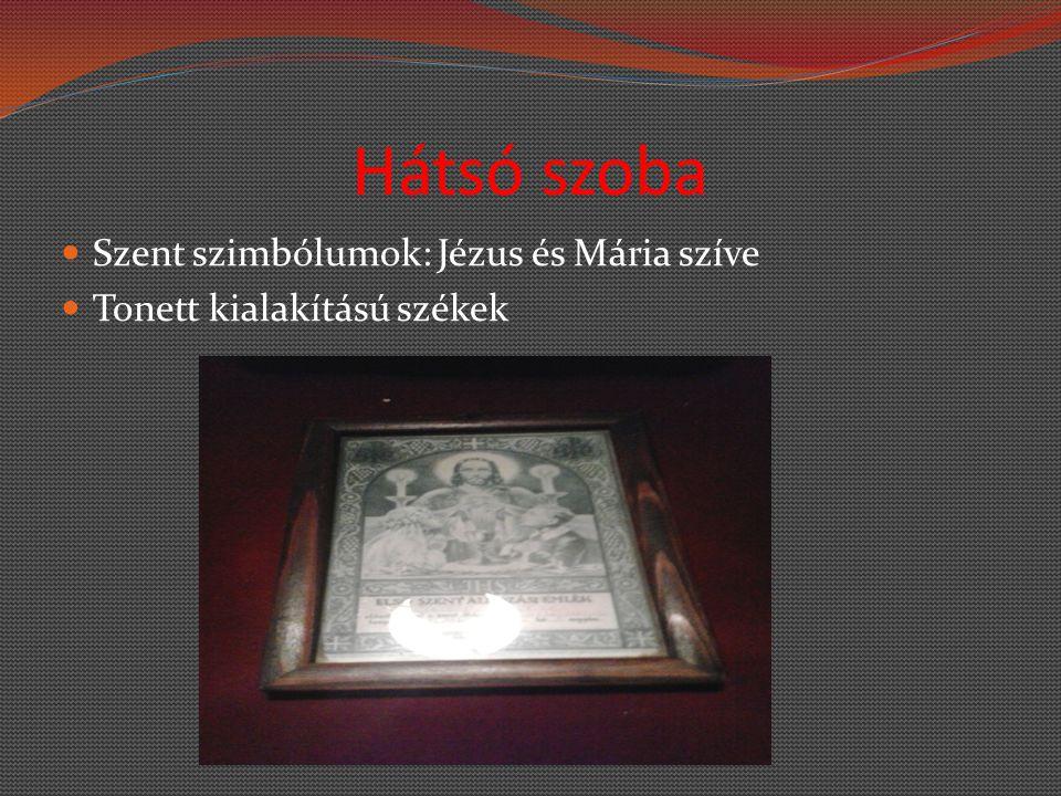Hátsó szoba Szent szimbólumok: Jézus és Mária szíve