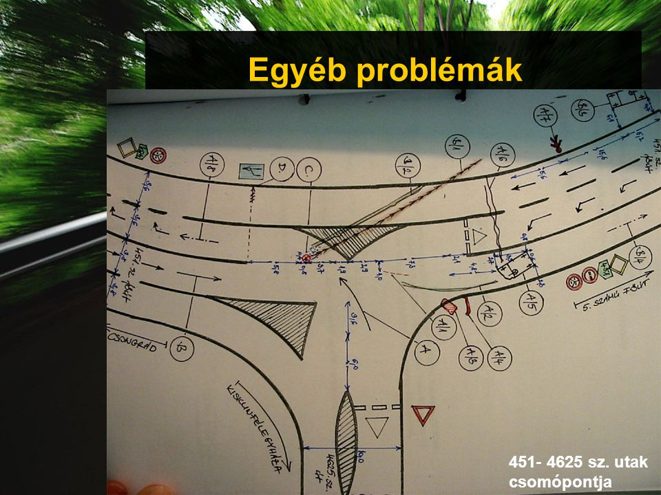 Egyéb problémák 451- 4625 sz. utak csomópontja