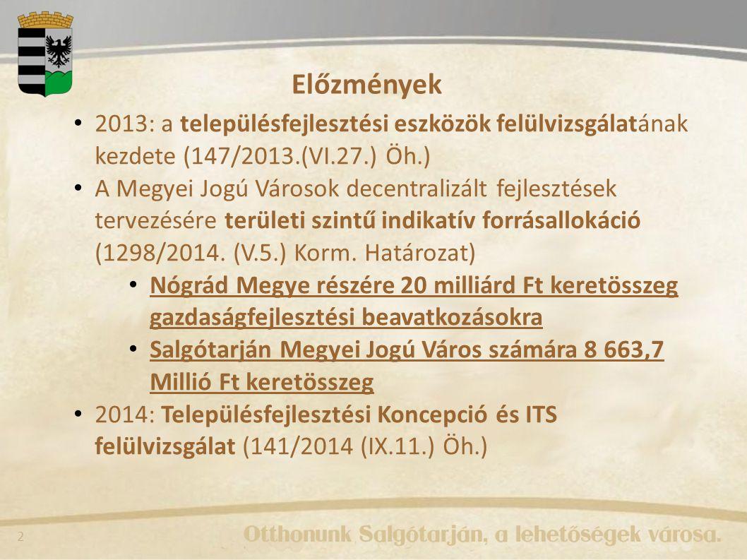 Előzmények 2013: a településfejlesztési eszközök felülvizsgálatának kezdete (147/2013.(VI.27.) Öh.)