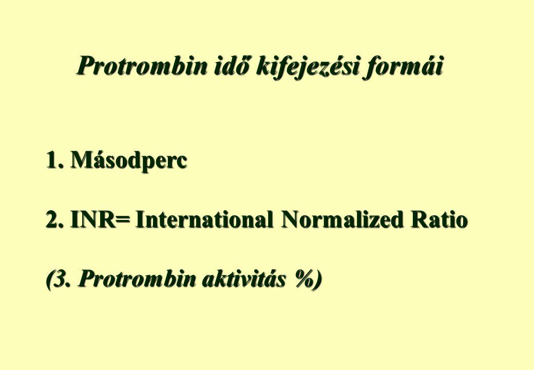 Protrombin idő kifejezési formái