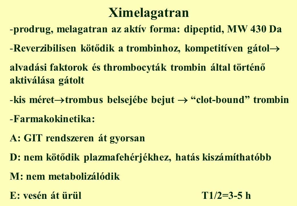 Ximelagatran prodrug, melagatran az aktív forma: dipeptid, MW 430 Da