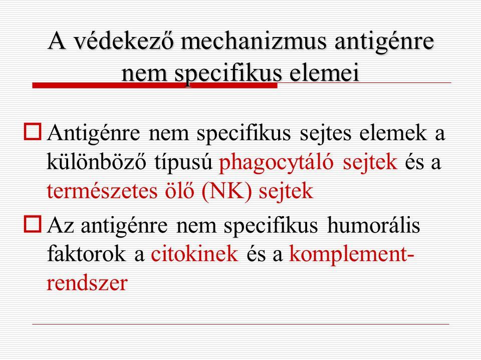 A védekező mechanizmus antigénre nem specifikus elemei