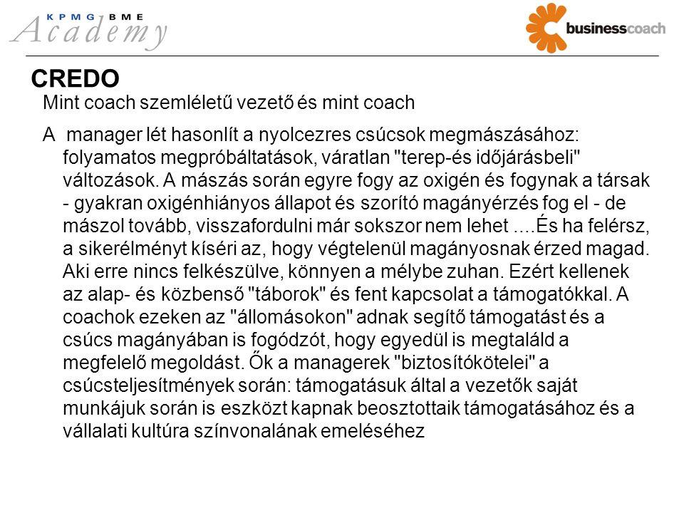 CREDO Mint coach szemléletű vezető és mint coach