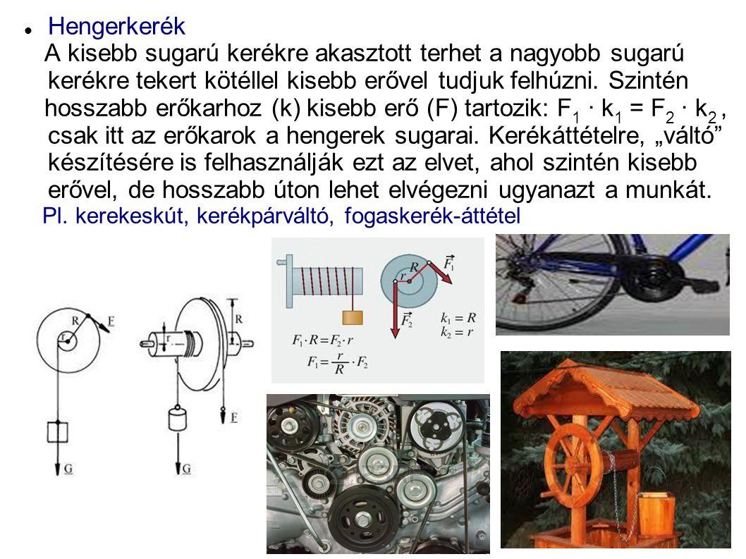 Hengerkerék A kisebb sugarú kerékre akasztott terhet a nagyobb sugarú kerékre tekert kötéllel kisebb erővel tudjuk felhúzni. Szintén.