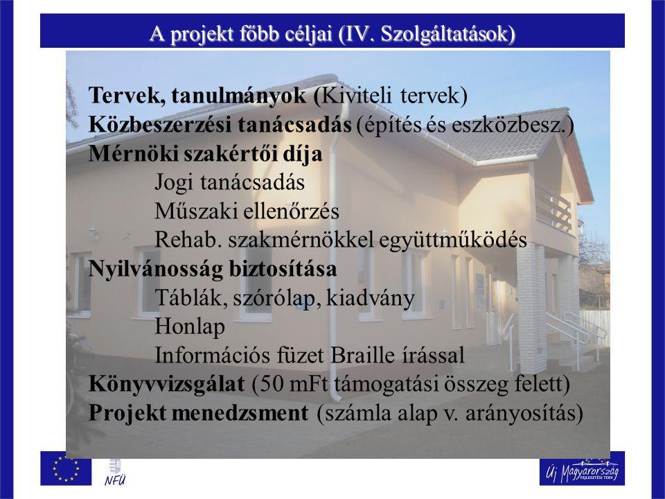 A projekt főbb céljai (IV. Szolgáltatások)
