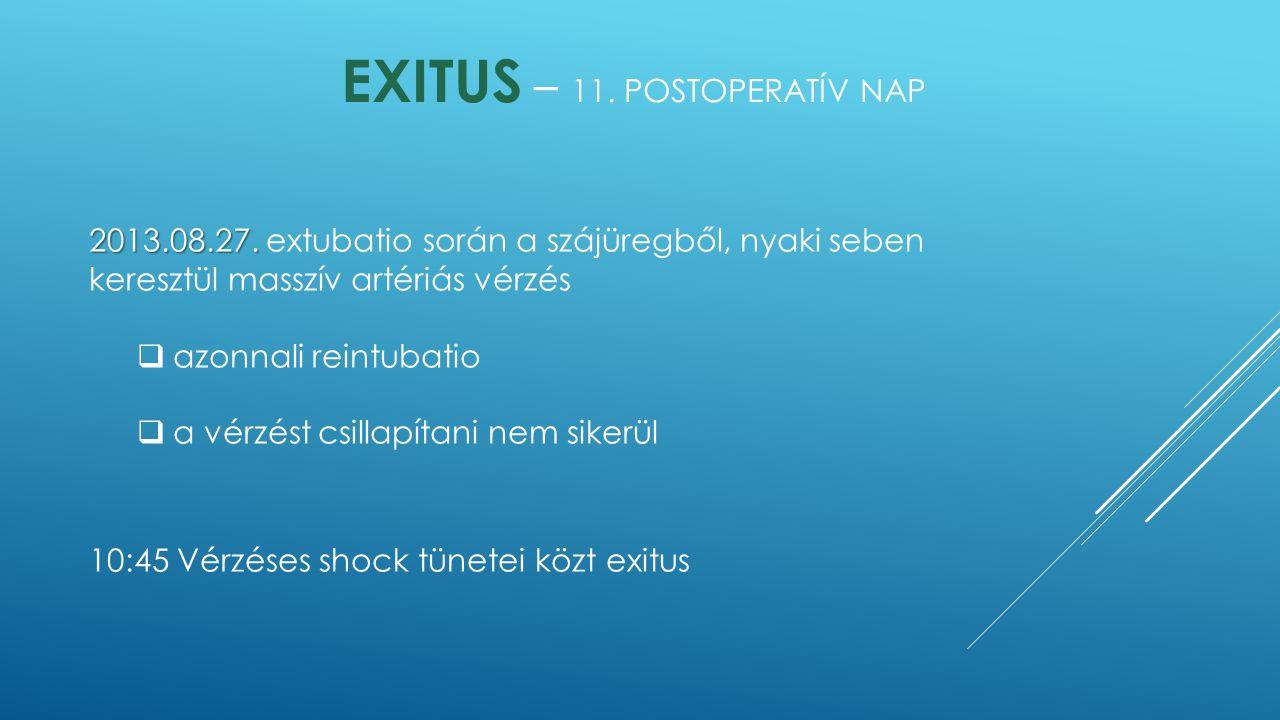 Exitus – 11. postoperatív nap