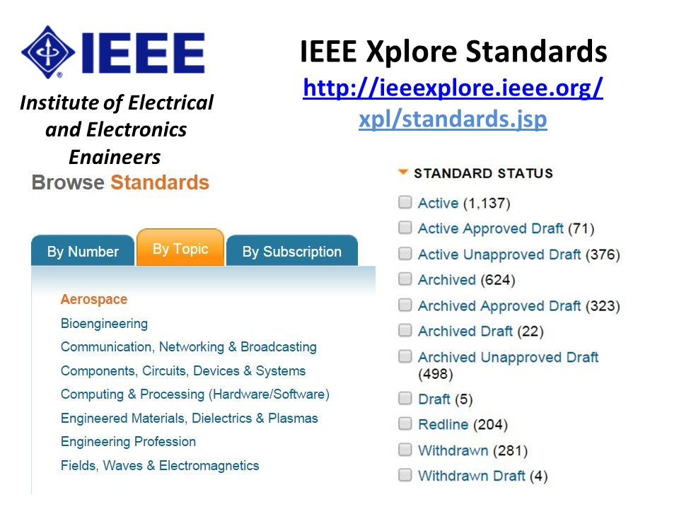 IEEE Xplore Standards http://ieeexplore.ieee.org/