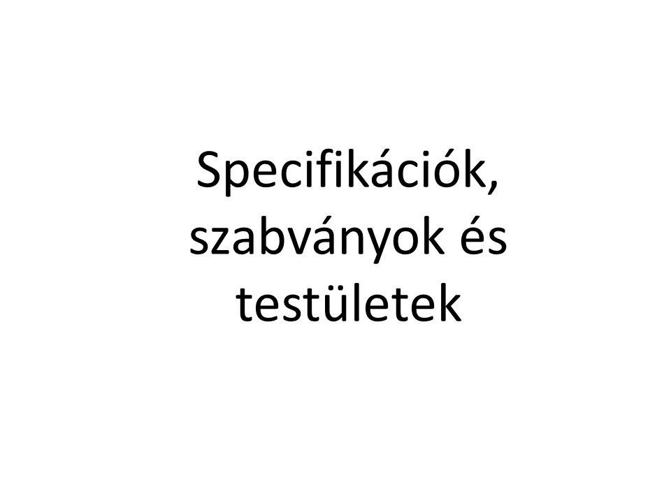 Specifikációk, szabványok és testületek